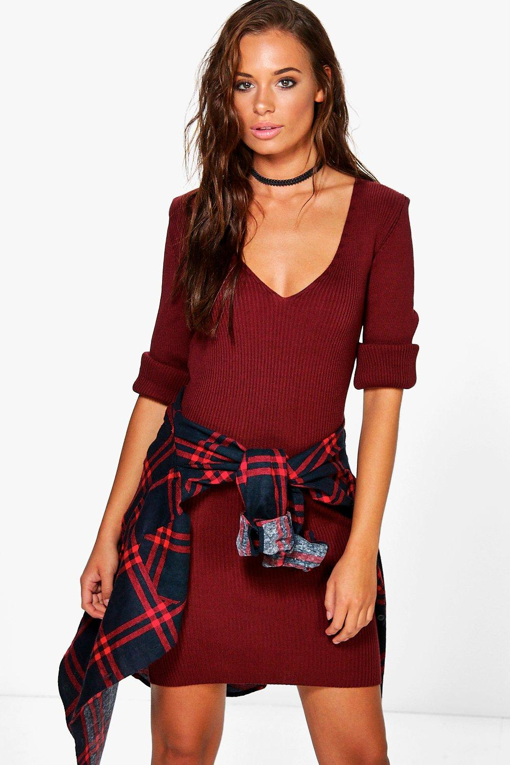 Phoebe V Neck Rib Knit Dress