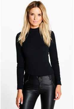 Daisy Turtle Neck Rib Knit Jumper