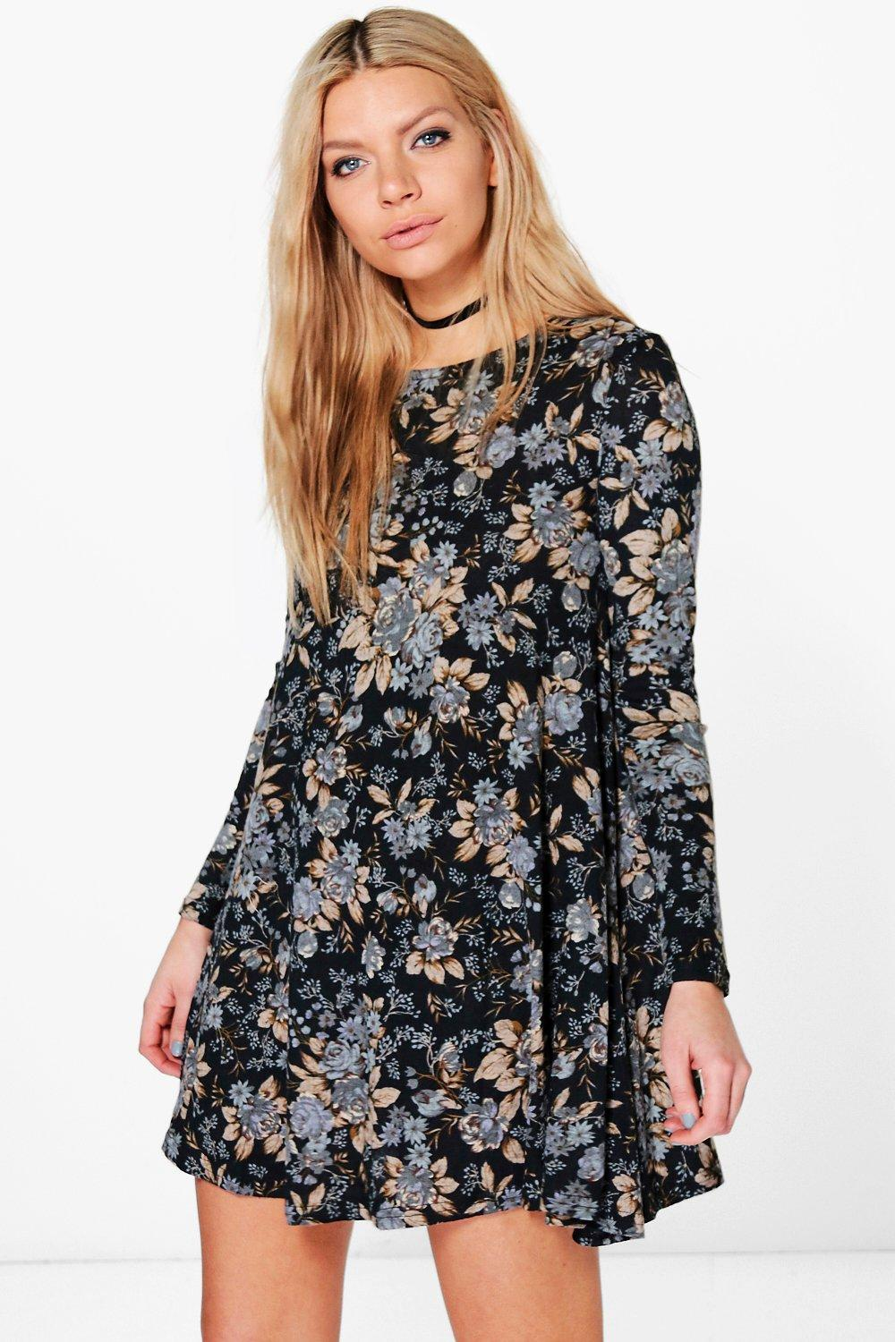 Joan Floral Brushed Knit Swing Dress