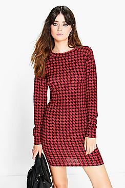 Fran Dogtooth Brushed Knit Bodycon Dress