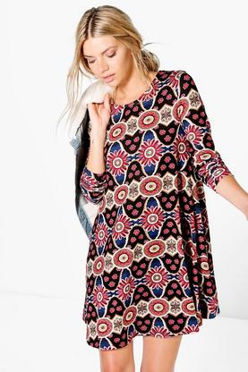 Oana Floral Brushed Knit Swing Dress