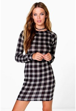Mabel Brushed Knit Check Bodycon Dress