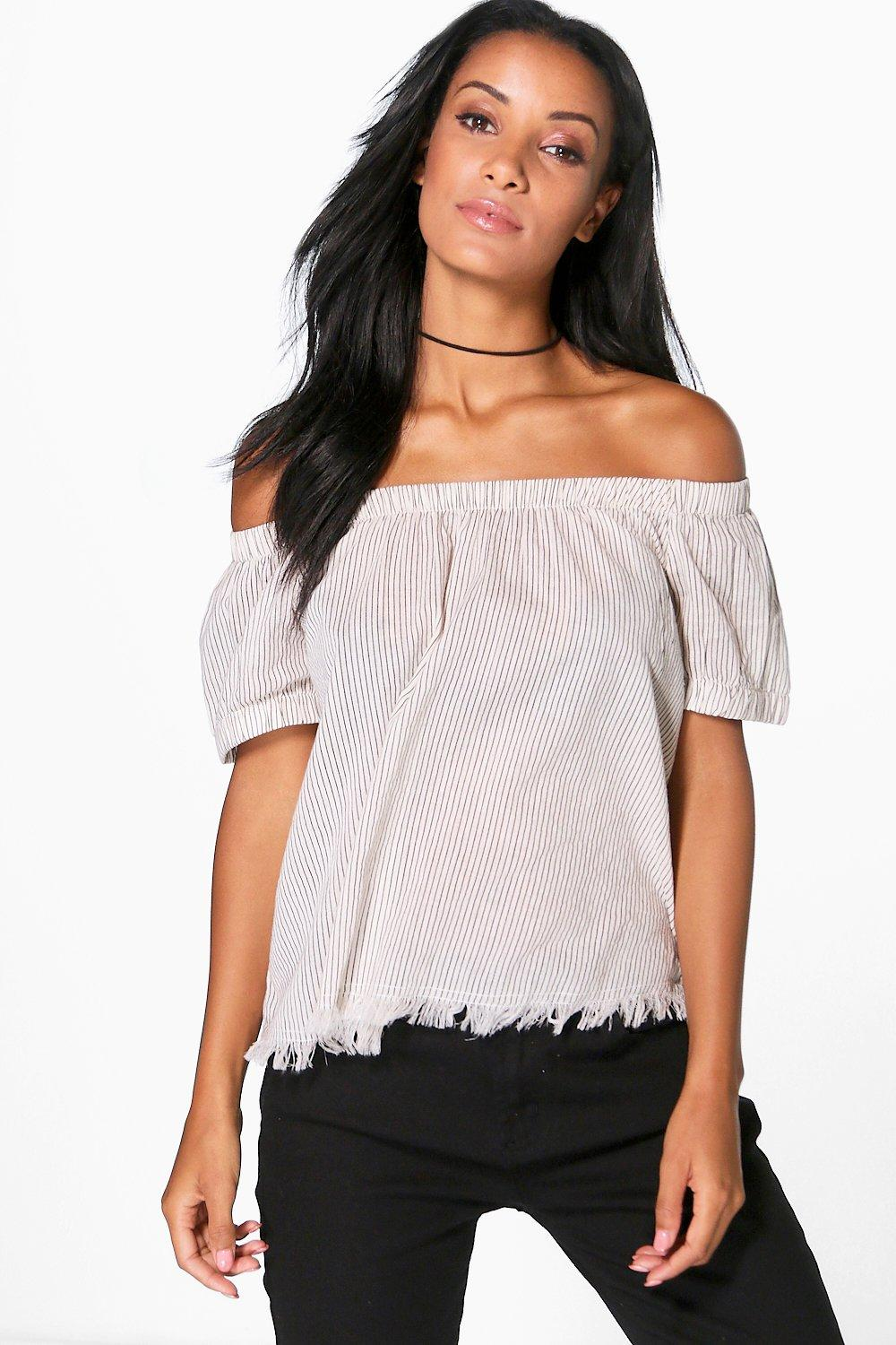 Tanya Woven Stripe Raw Edge Off The Shoulder Top