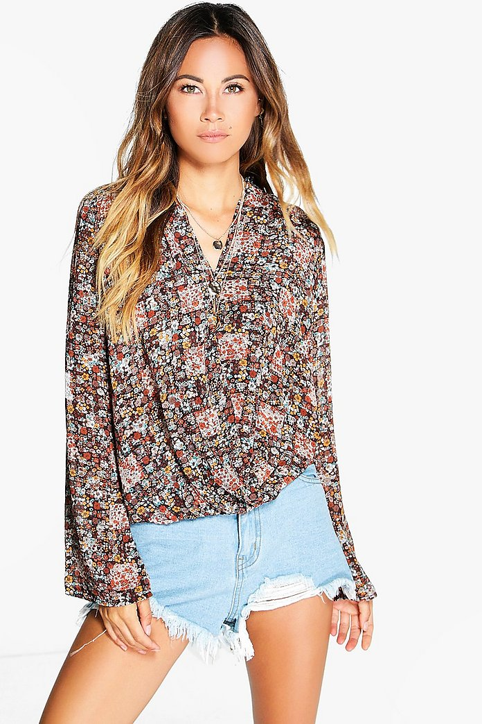 Daisy Ditsy Floral Wrapover Blouse