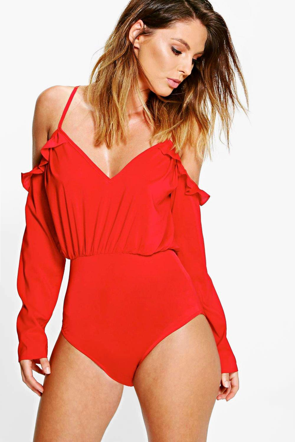 Molly Ruffle Cold Shoulder Woven Bodysuit