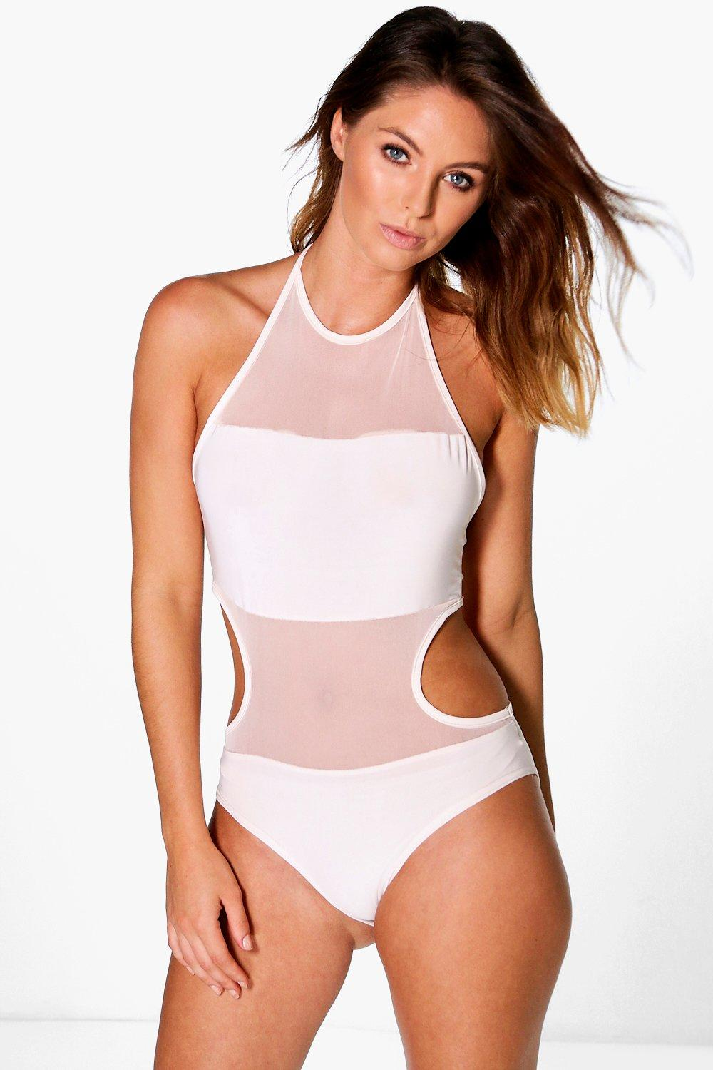 Celina Slinky Cut Away Mesh Panel Body
