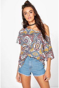 Carey Paisley Print Slash Neck Oversized T-Shirt