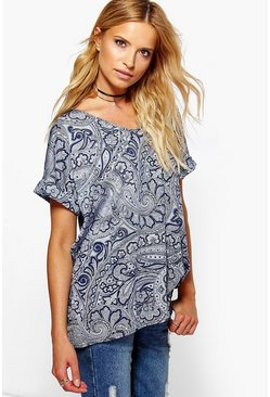 Cathy Paisley Print V Neck T-Shirt