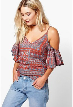 Romma Tile Print Cold Shoulder T-Shirt