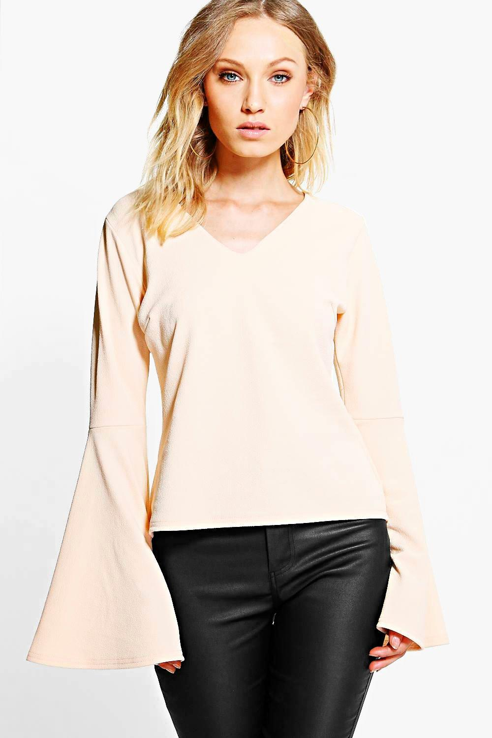 Sarah Texture Flare Sleeve V Neck Top