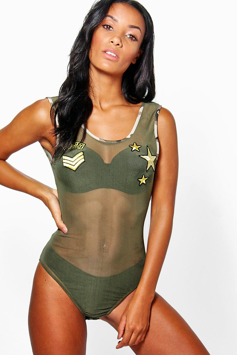 Casey Badge & Camo Mesh Bodysuit