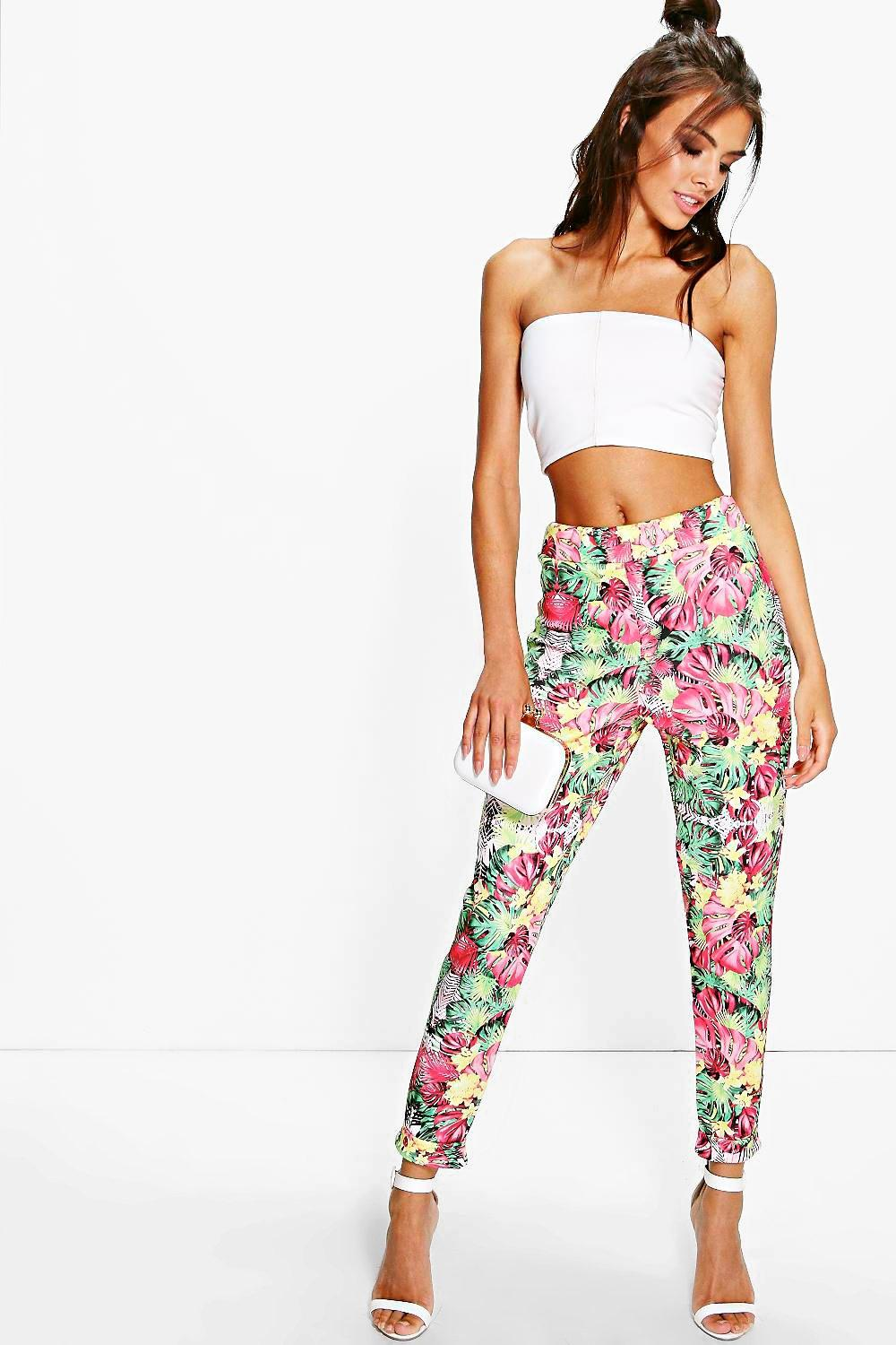 Gianna Tropical Print Skinny Trousers