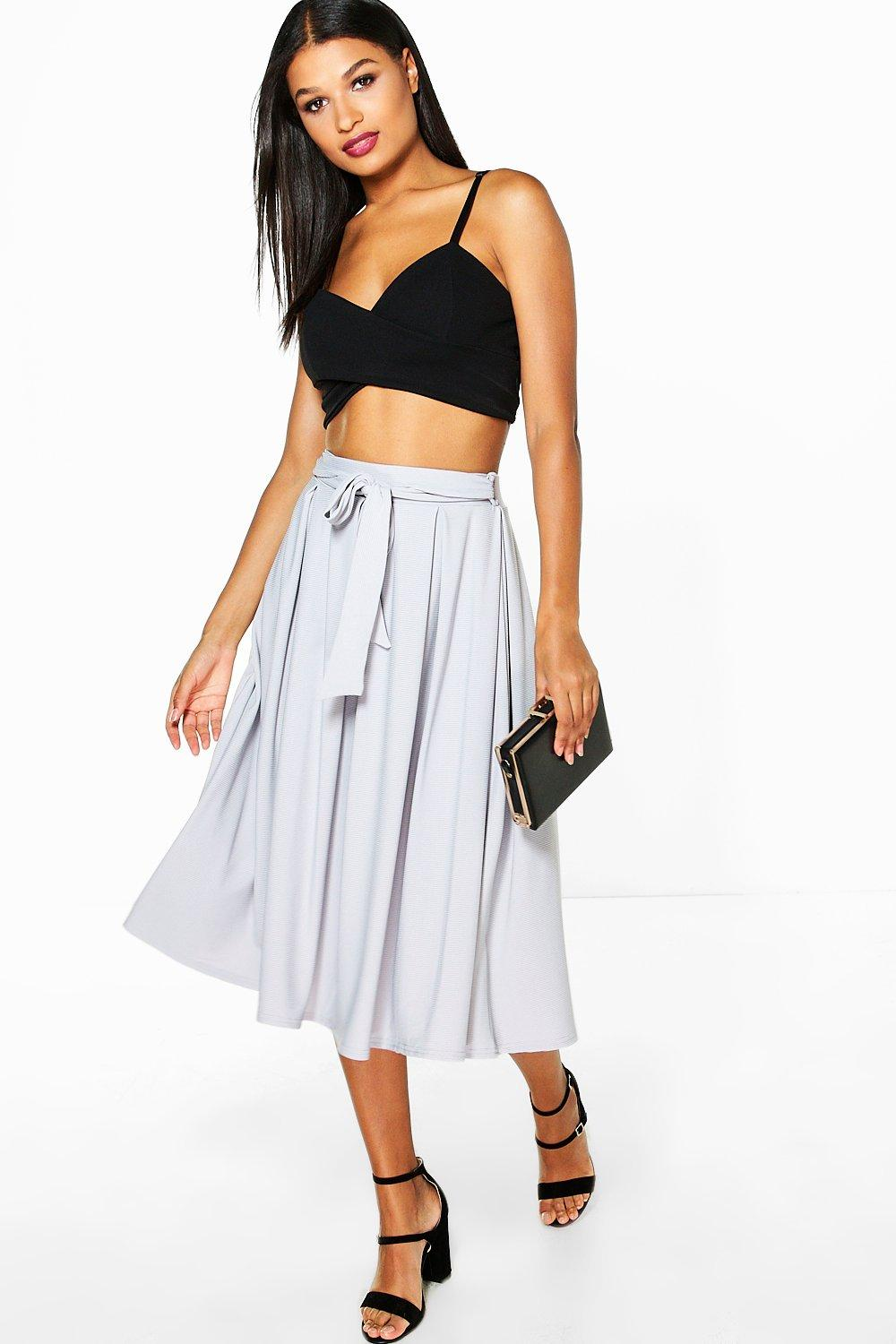 Aalia Belted Ribbed Full Midi Skirt
