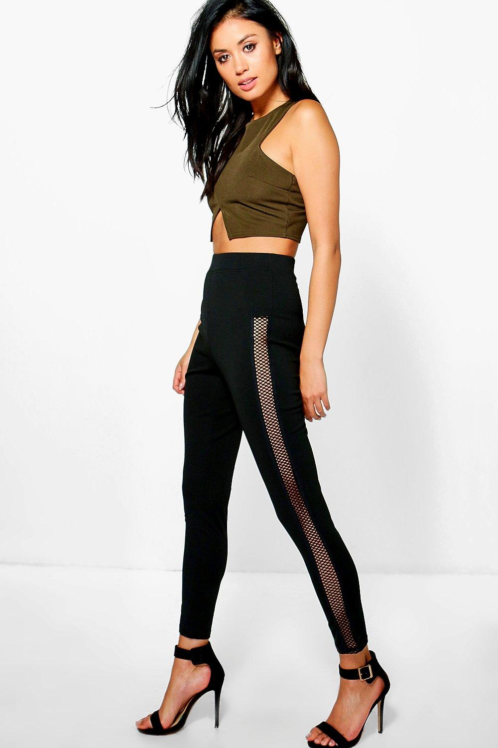 Adaira Sheer Grid Side Panel Leggings black