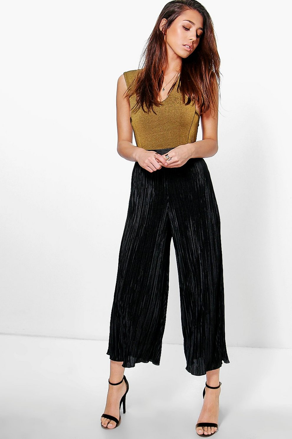 100% Authentic Boohoo Pleated Wide Leg Cropped Culottes For Sale Footlocker Cheap Choice Low Cost kjz1K4A3J