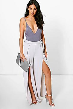 Paola Belted Split Front Wide Leg Crepe Trousers