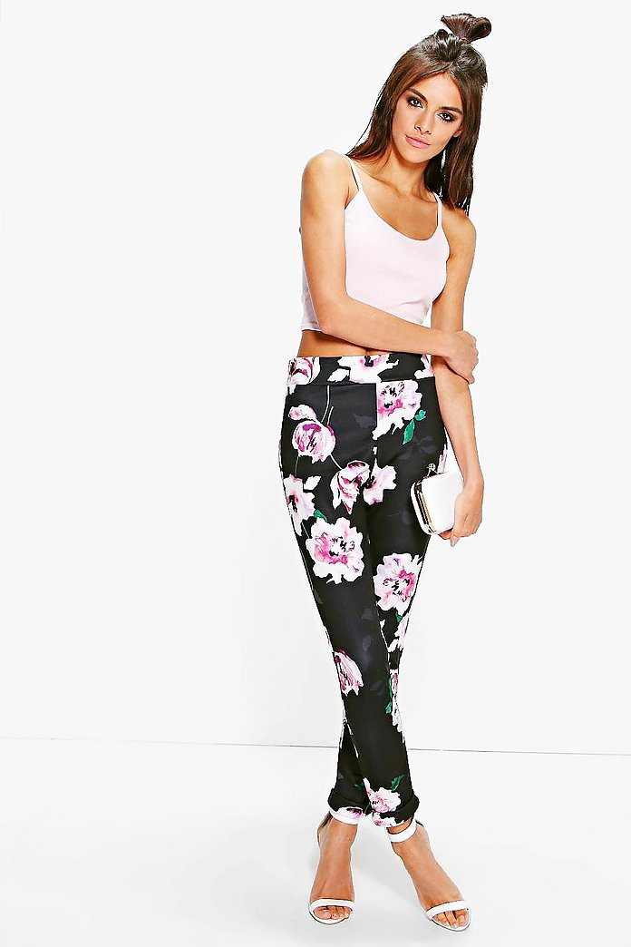 Naeve Large Floral Stretch Skinny Trousers