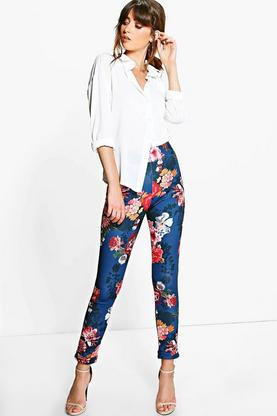 Nova Autumn Floral Stretch Skinny Trousers