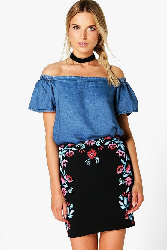 Priya Printed Embroidery Mini Skirt