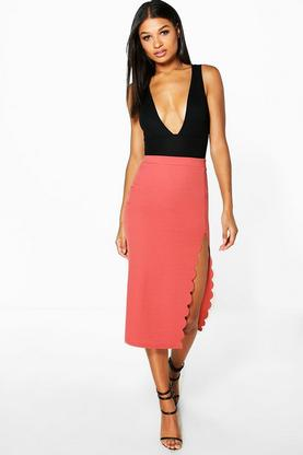 Sofia Scallop Thigh Split Longline Midi Skirt