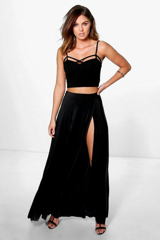 Marli Wrap Front Pleated Slinky Maxi Skirt