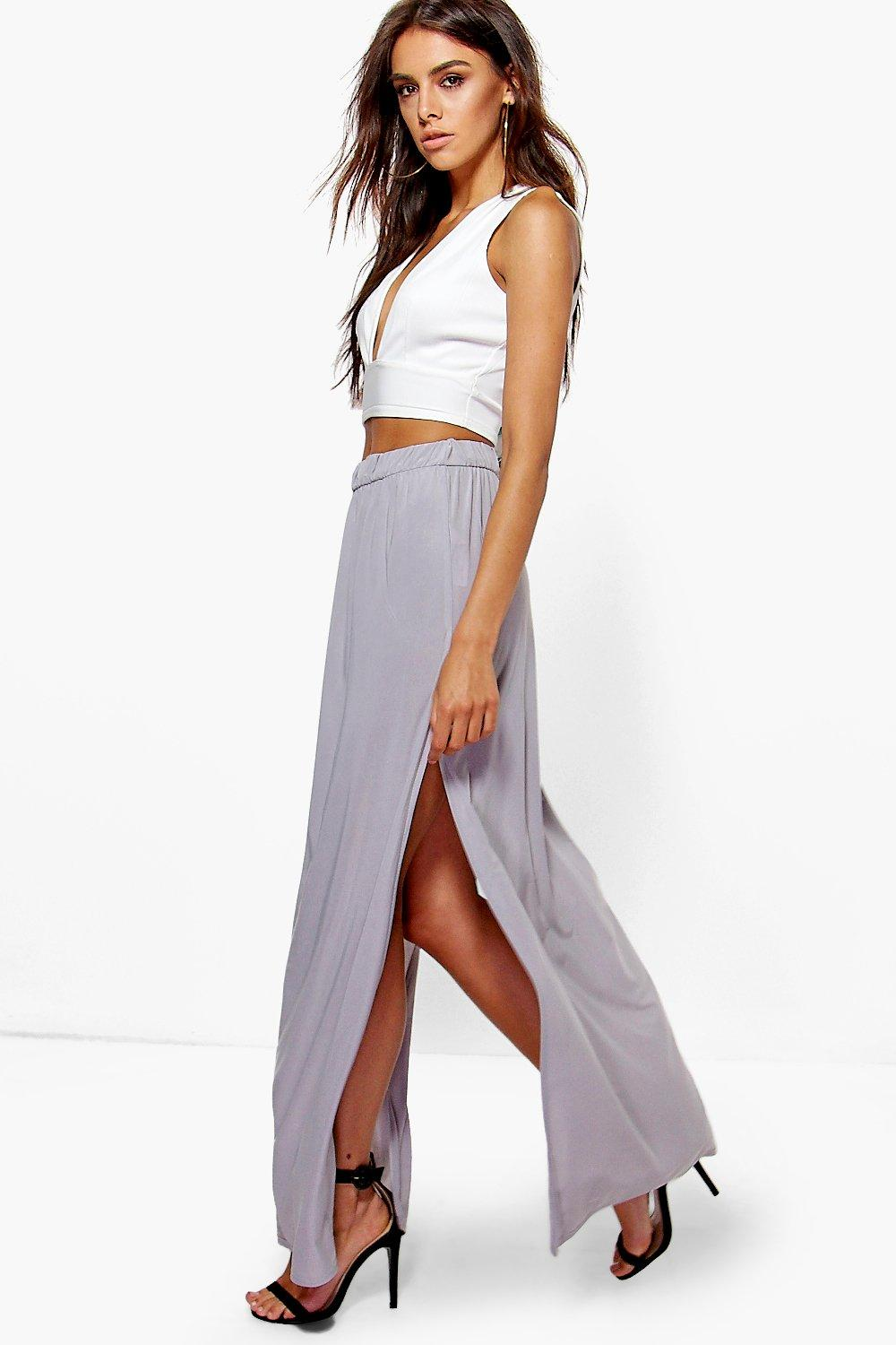Ariella Double Side Split Slinky Maxi Skirt