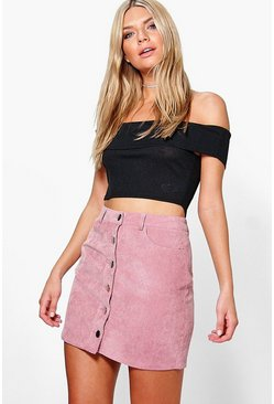 Fallen Button Front Cord Mini Skirt