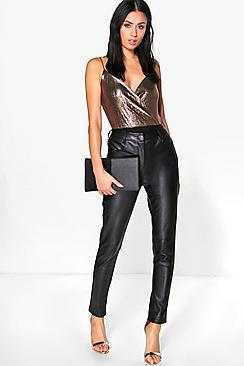 Amelie Premium Leather Look Stretch Skinny Trousers