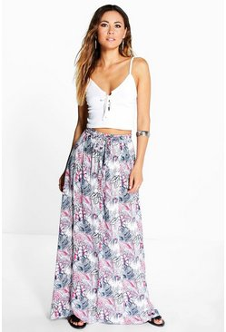 Aria Tropical Print Maxi Skirt