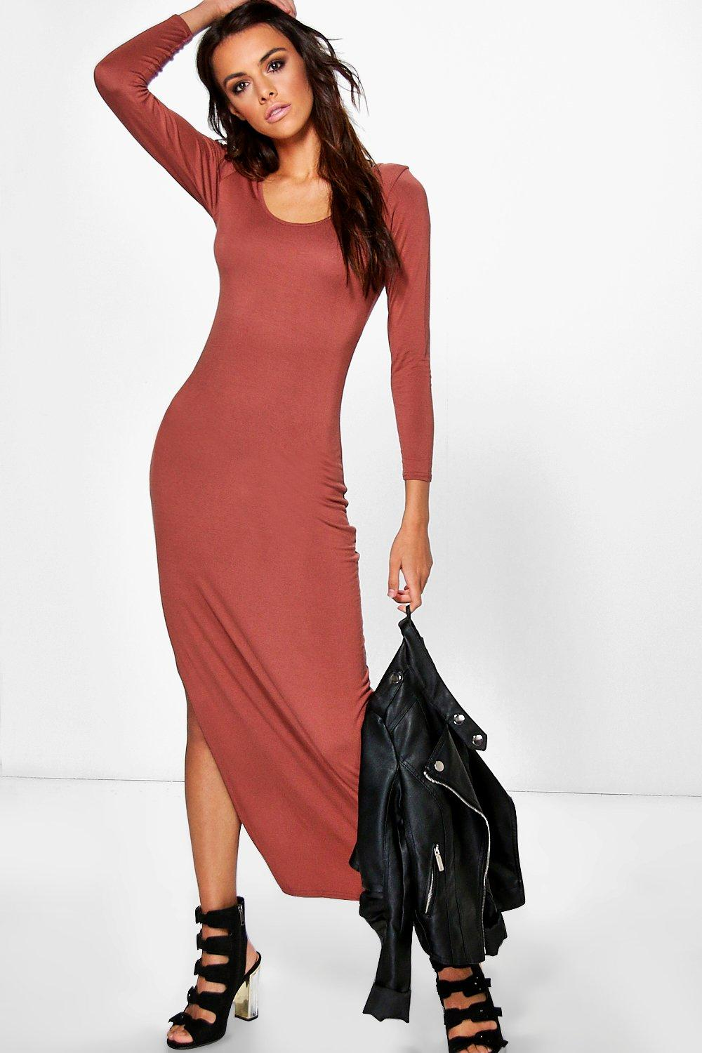 Jinny Long Sleeve Side Split Maxi Dress