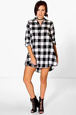 Amy Checked Oversized Shirt Dress
