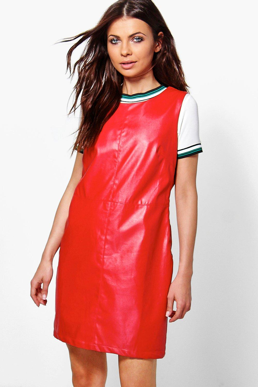 Ariela Faux Leather A-Line Pinafore Dress