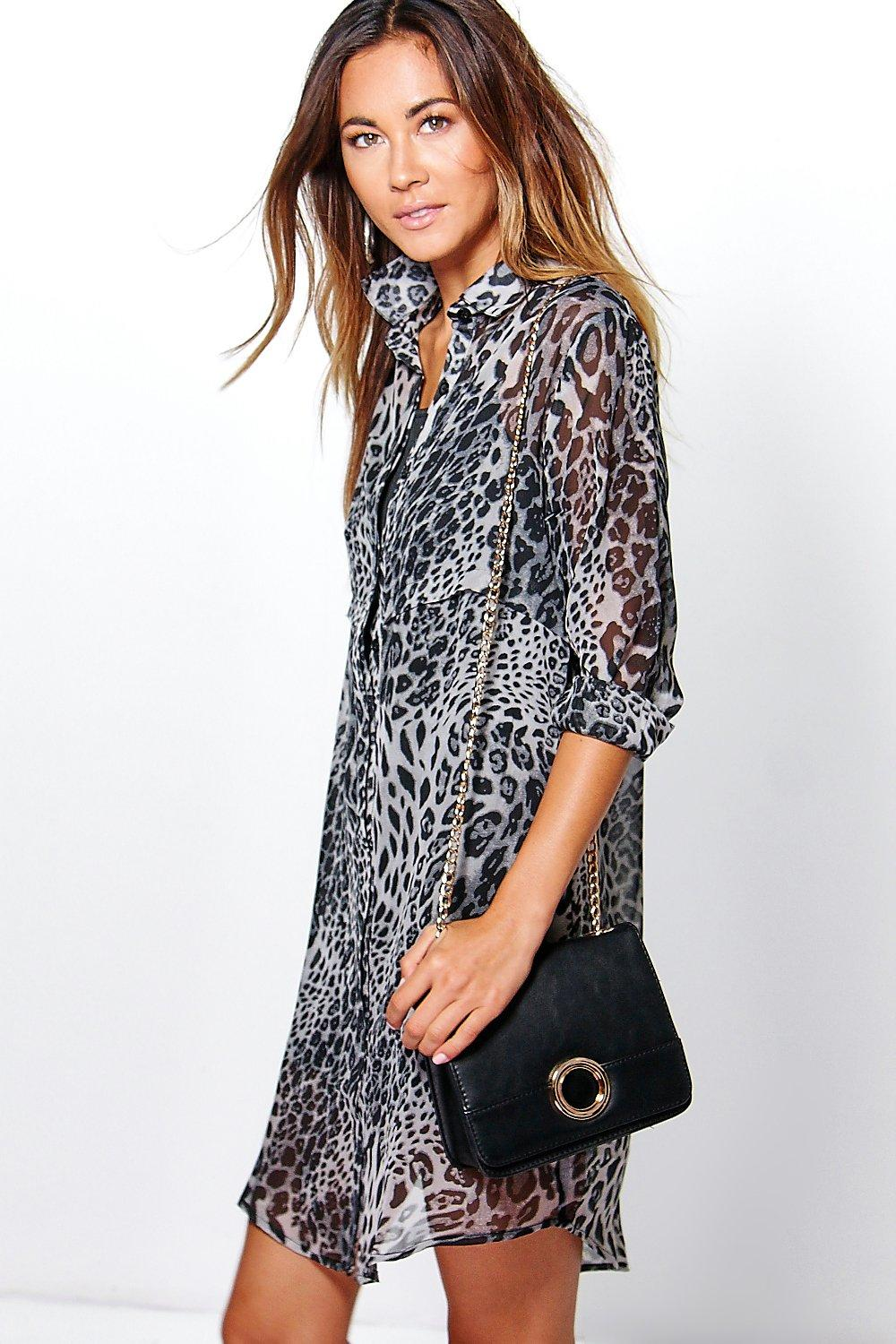 Maive Leopard Shirt Dress