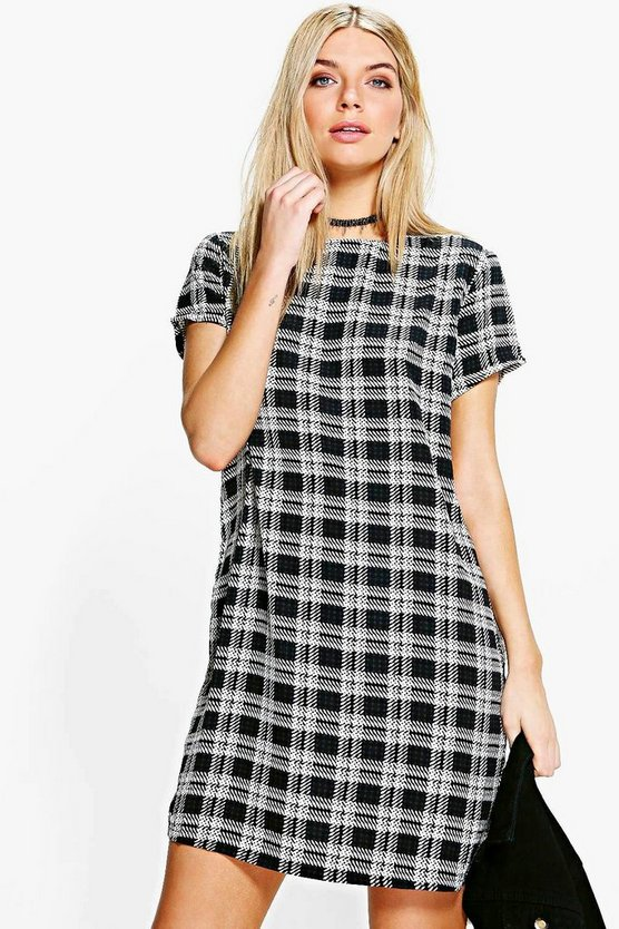 Cally Check Cap Sleeved Shift Dress