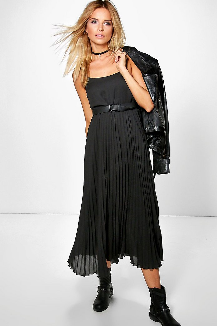 Karina Pleated Midi Pinafore Dress