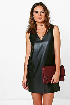 Natasha Faux Leather Pocket Pinafore Dress