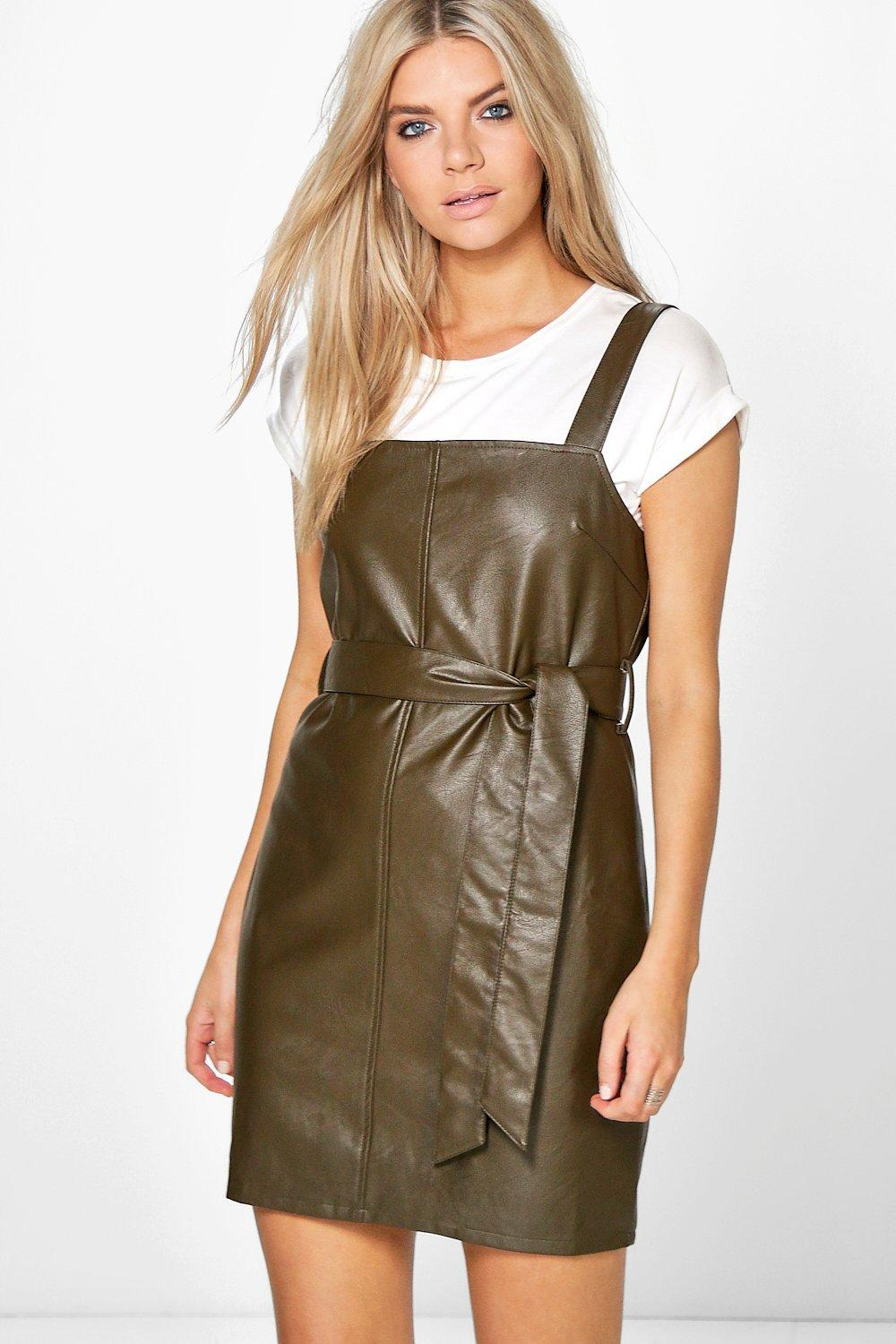 Sadie Faux Leather Tie Front Pinafore Dress