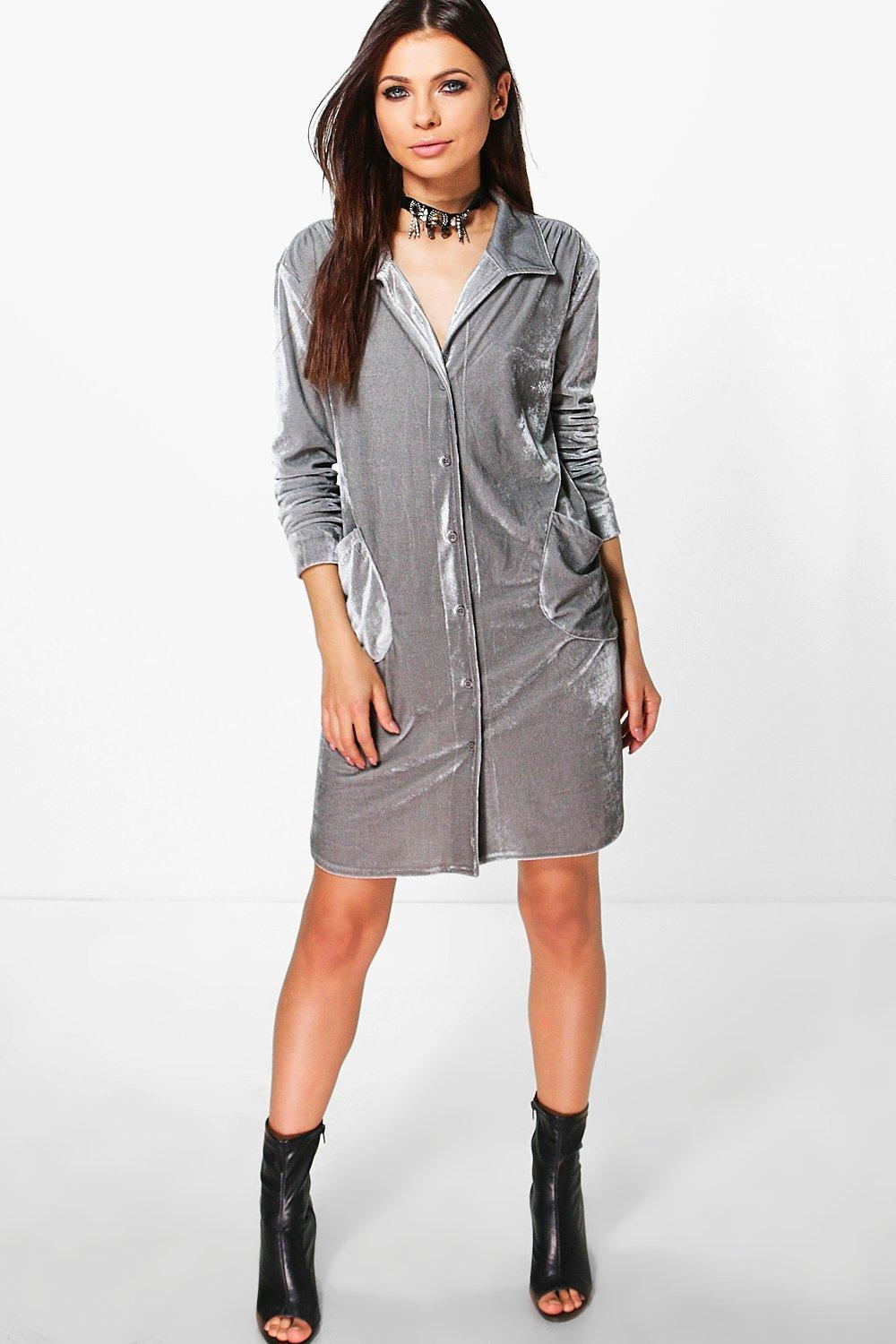 Boutique Natasha Immi Velvet Shirt Dress