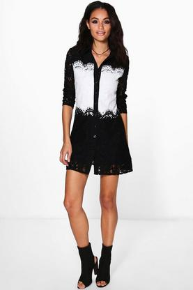 Monica Lace Mix Shirt Dress