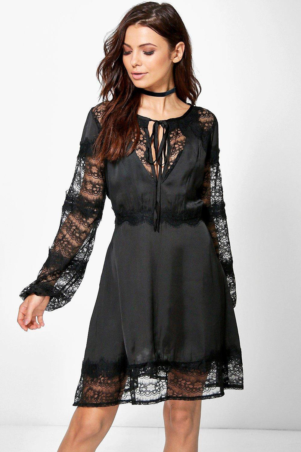 Leona Lace & Satin Mix Shift Dress