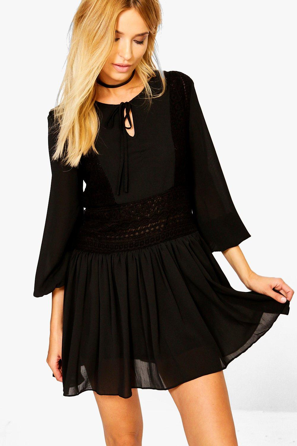 Victoria Volumised Sleeve Lace Skater Dress