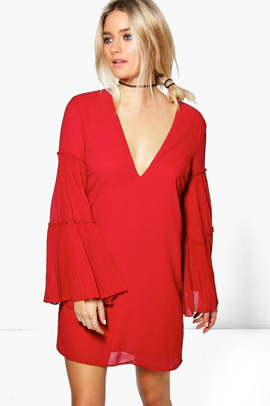 Ingrid Flute Pleat Sleeve A-Line Shift Dress