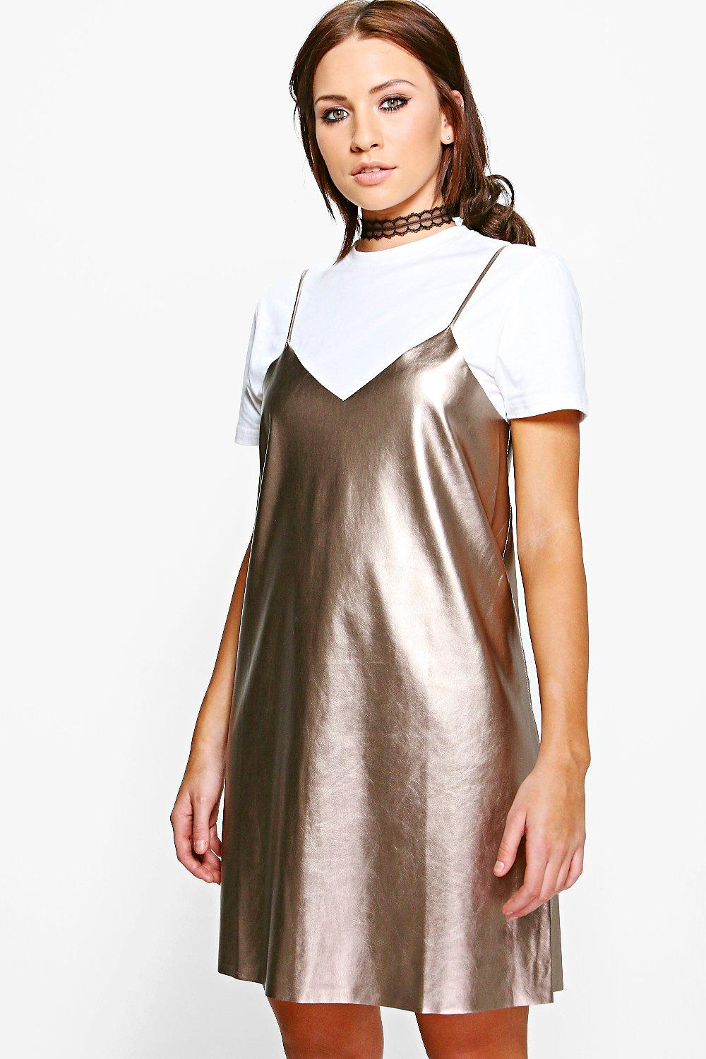 Details about boohoo womens melody metallic faux leather slip dress
