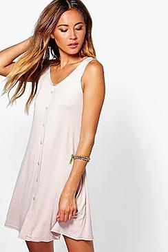 Ria Sleeveless Button Swing Dress