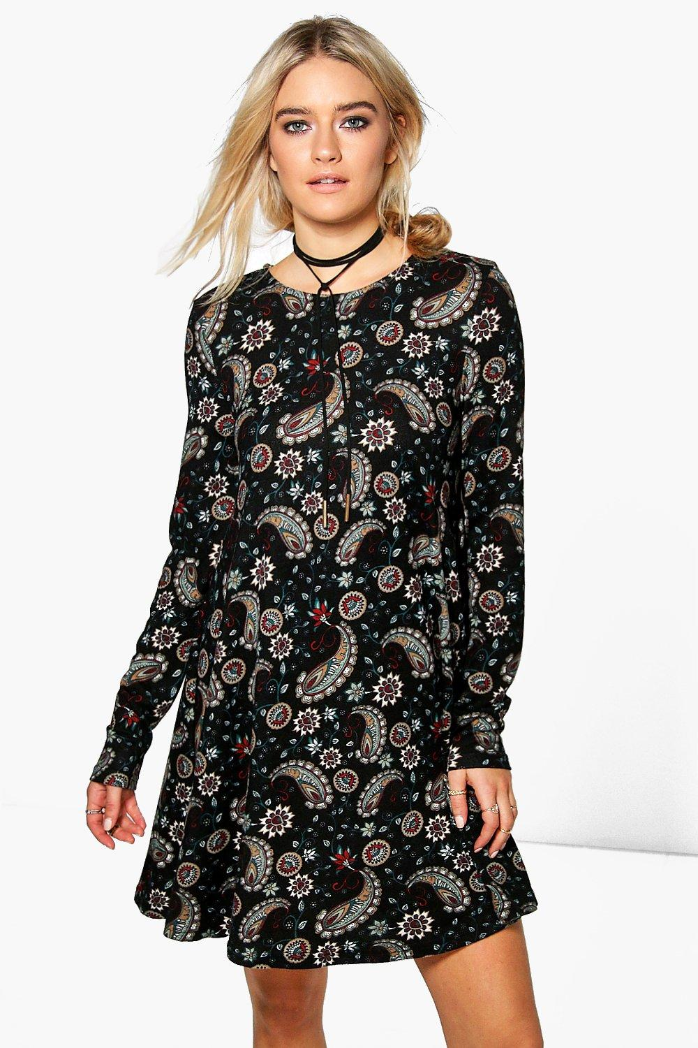 Brea Paisley Brushed Knit Swing Dress