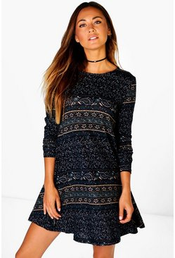 Zoe Paisley Border Brushed Knit Swing Dress