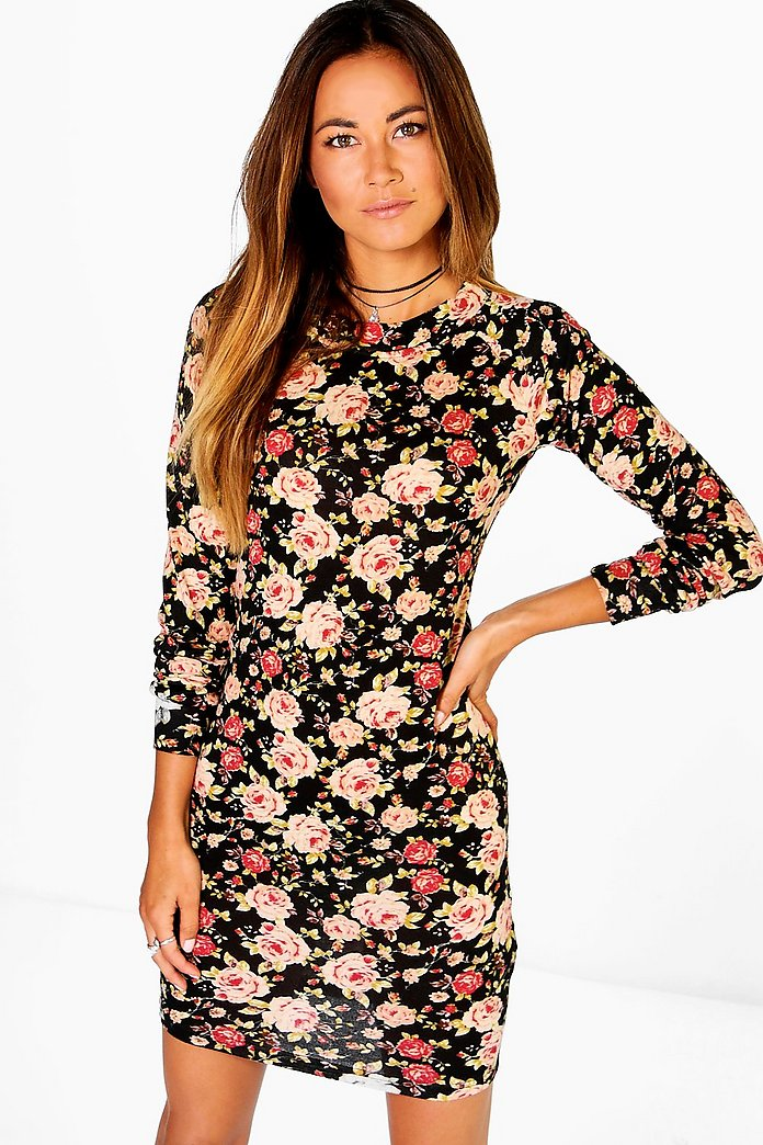 Kyra Floral Brushed Knit Bodycon Dress