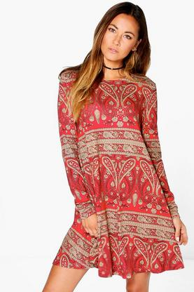 Rosa Paisley Brushed Knit Swing Dress