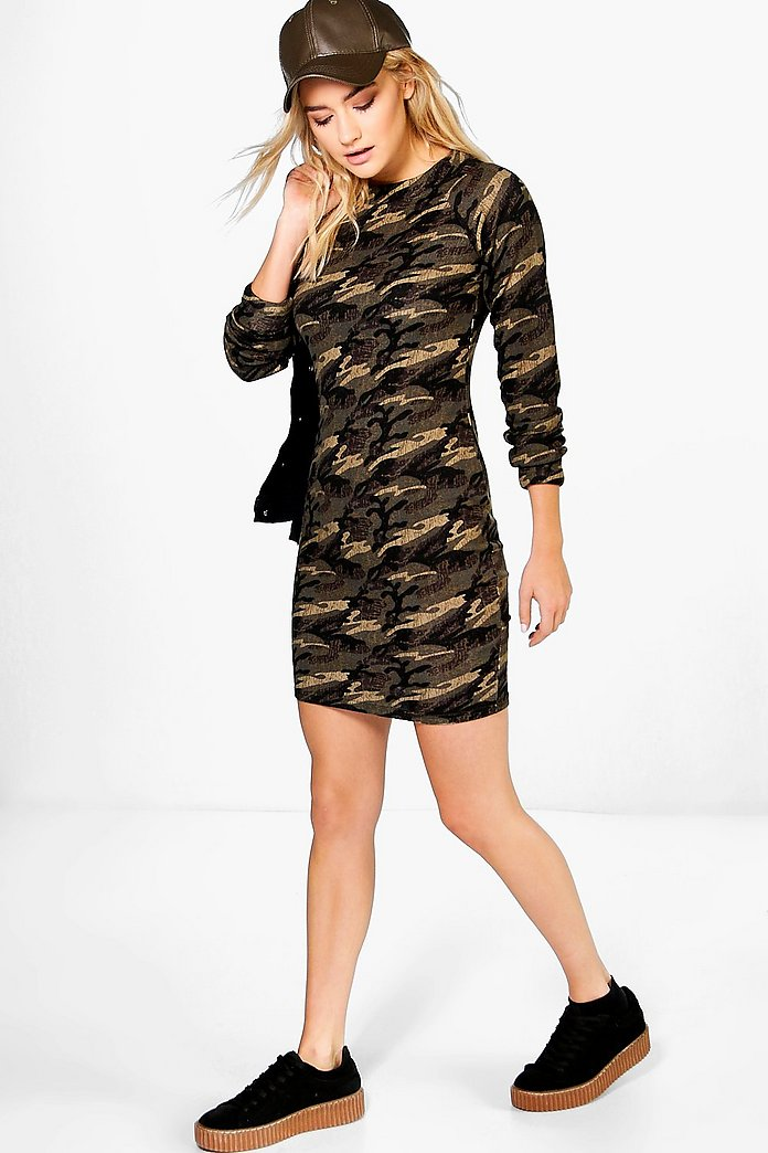 Sade Camo Brushed Knit Bodycon Dress
