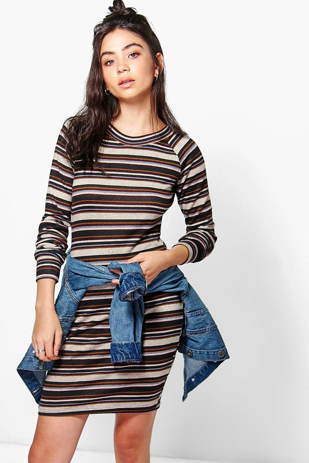 Lina Stripe Brushed Knit Bodycon Dress
